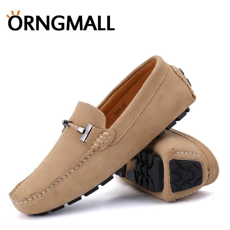 ORNGMALL Sapi Kulit Pria Flat Kasual Sepatu Moccasin Slip-On Loafers Malas .