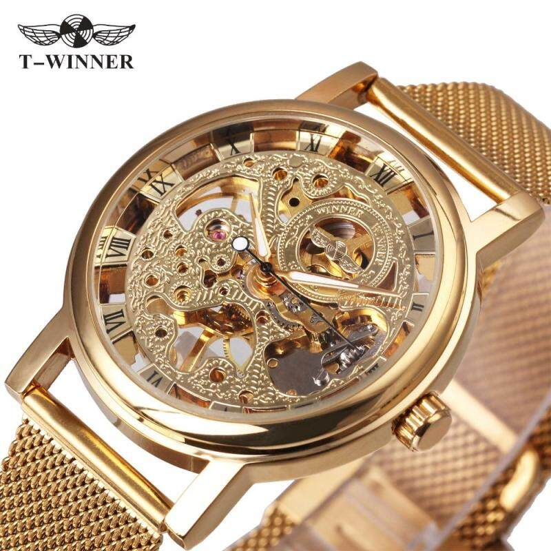 WINNER NEW Ultra Thin Luxury Golden Men Mechanical Watch Mesh Strap Skeleton Dial Middle Age Roman Design Style Best Gift Malaysia