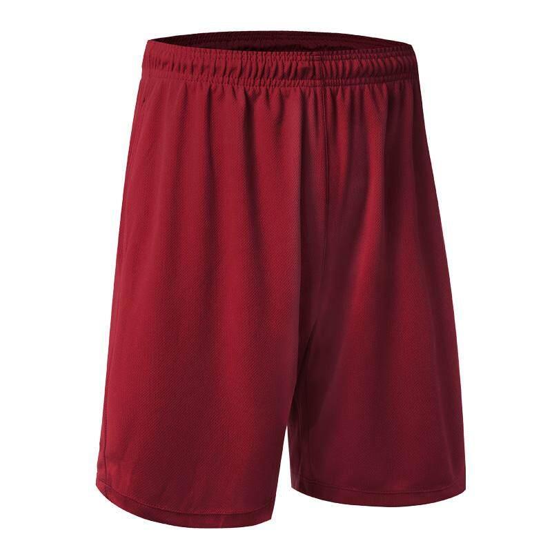 Pria Latihan Loose Sesuai Cepat Mengeringkan Nafas Serut Polos Warna Bola Keranjang Olahraga Celana Pendek Merah