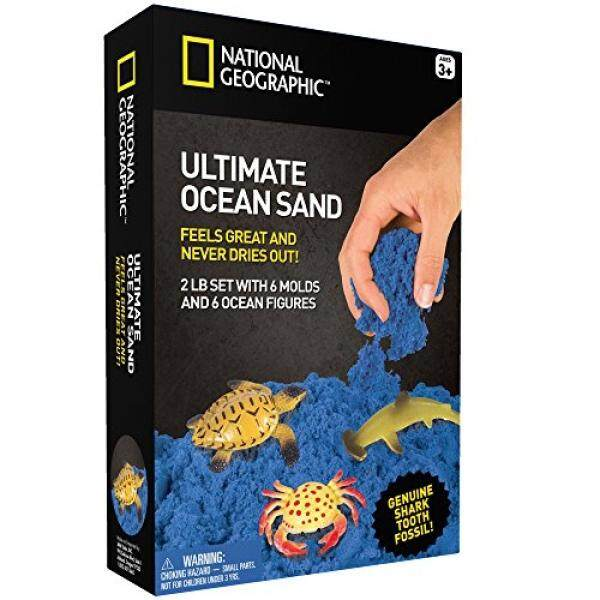 NATIONAL GEOGRAPHIC Ultimate Ocean Play Sand - 2 LBS of Sand, 6 Molds, 6 Figures and Activity Tray - intl