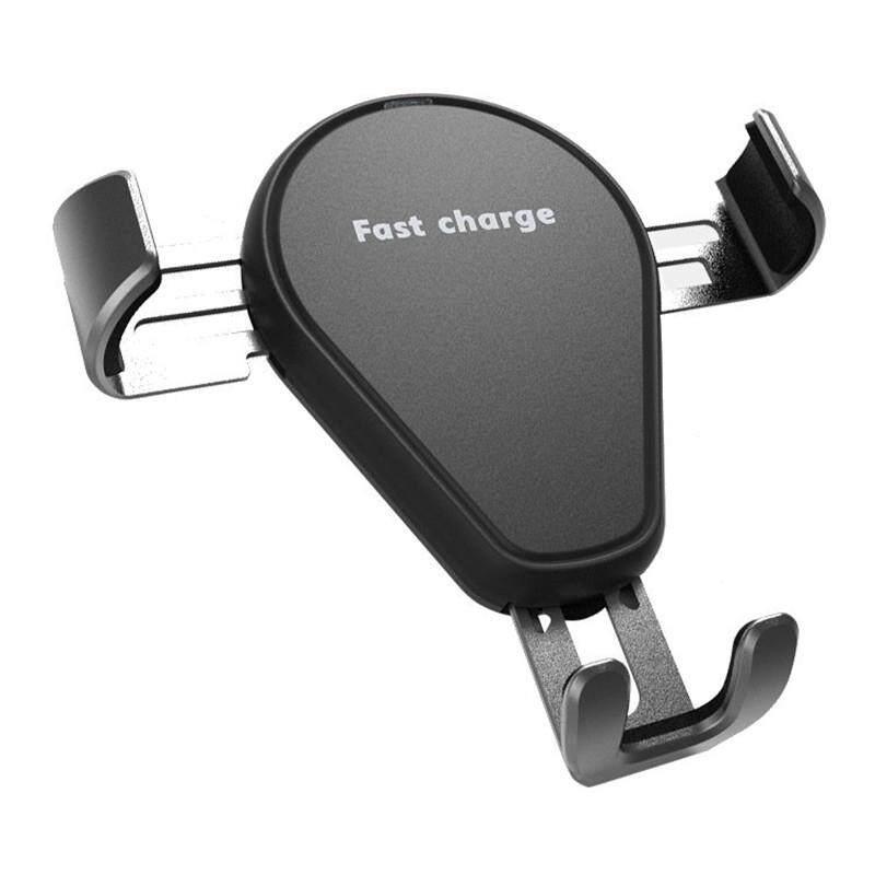 2 In 1 Qi Pengisi Mobil Nirkabel Hubungan Gravitasi Auto Lock Stan Telepon Dudukan untuk Samsung Iphone