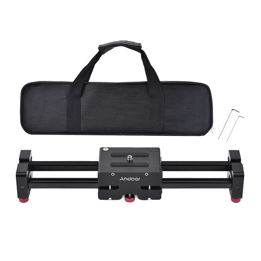 Andoer Persegi-40 Retractable Kamera Video Slider Dolly Penstabil Rel Jalur 40 Cm Panjang 80 Cm Sebenarnya Geser Jarak Aluminium Aloi Dibangun untuk Perkakas Bertualang Set Pjs-Intl