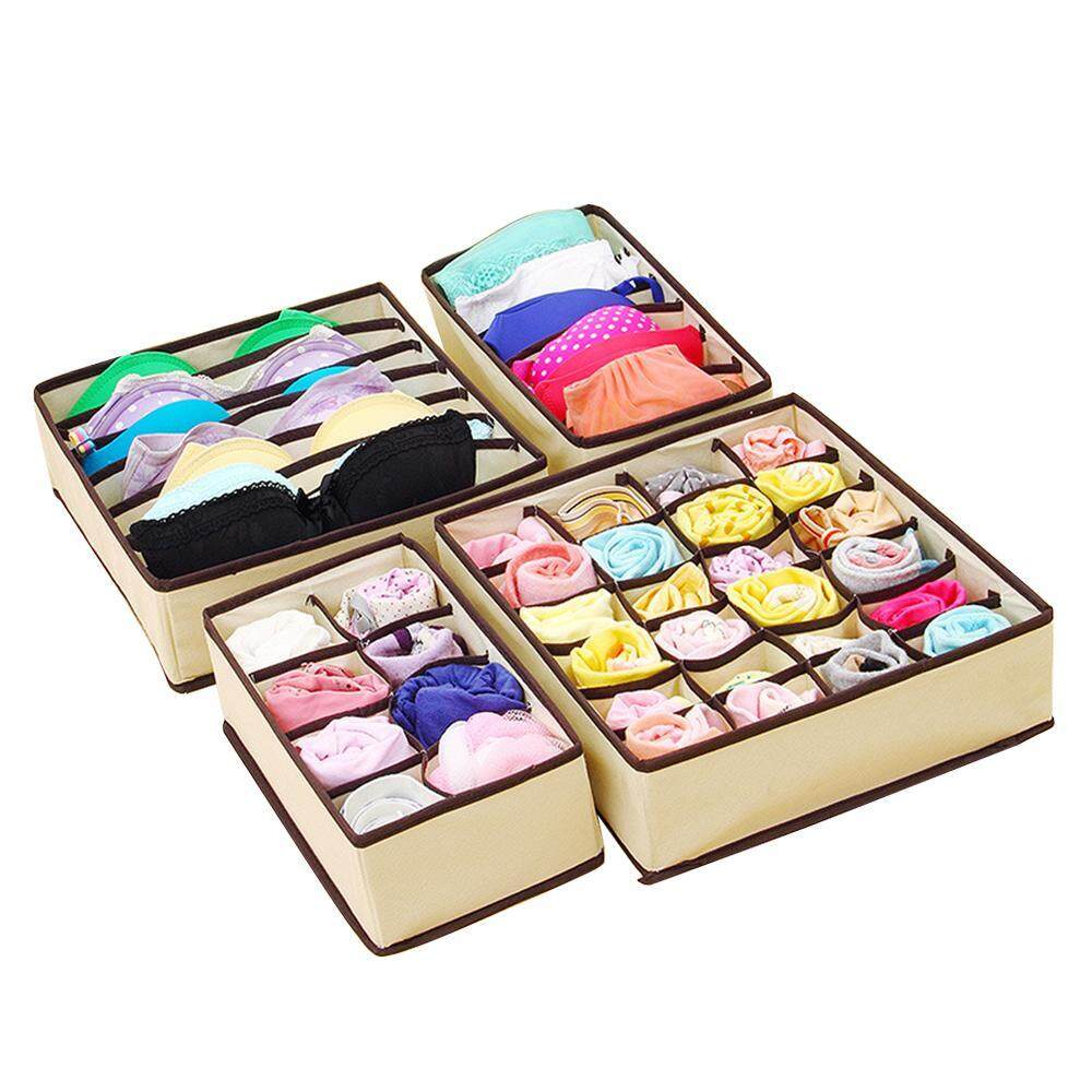 opkmc Pawaca Set Of 4 Foldable Drawer Dividers,Storage Boxes,Bra Underwear Organizer Drawer Divider - intl