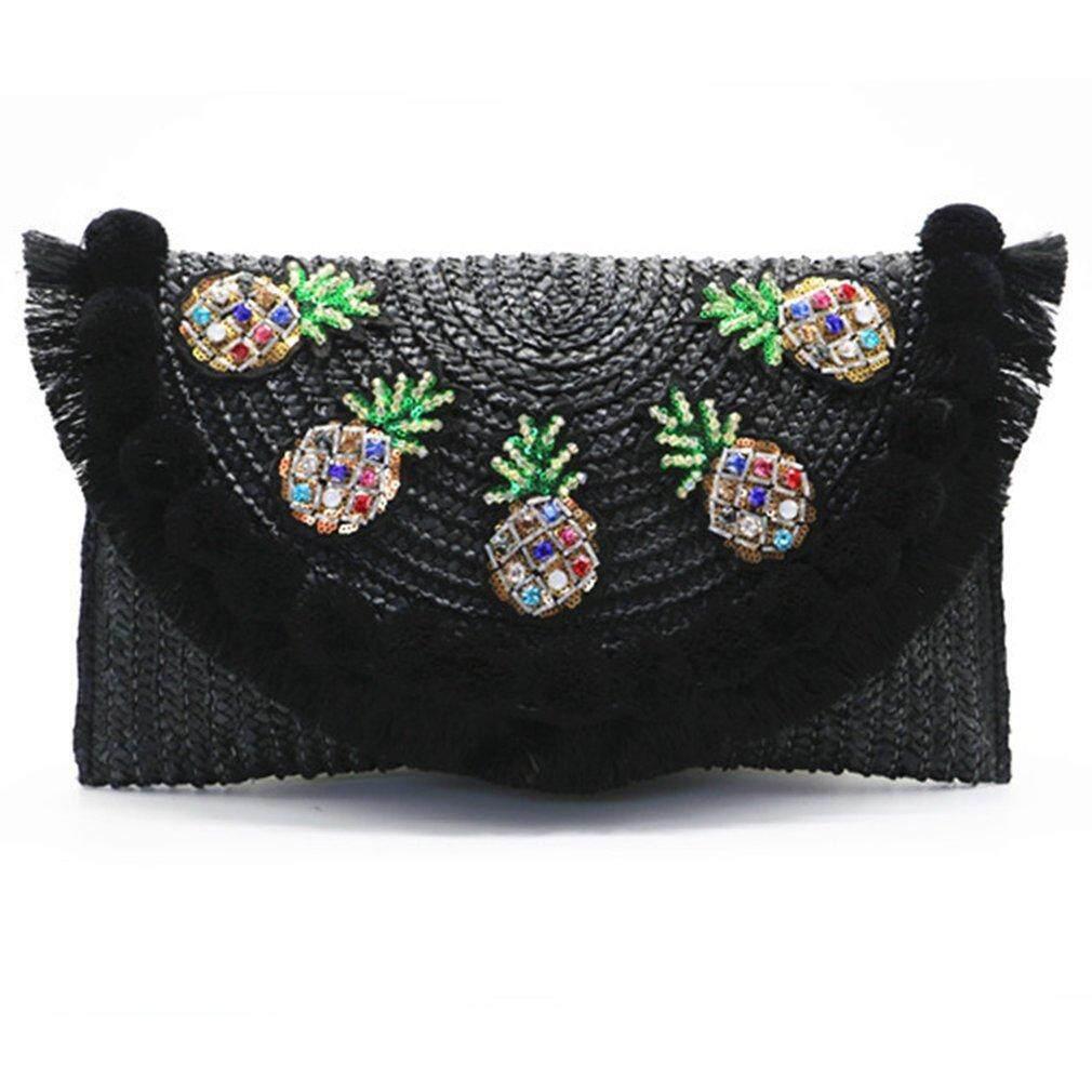 Good Stylish Straw Plaited Lady Clutch Bag Convenient Single Shoulder Crossbody Bag Intl Deal
