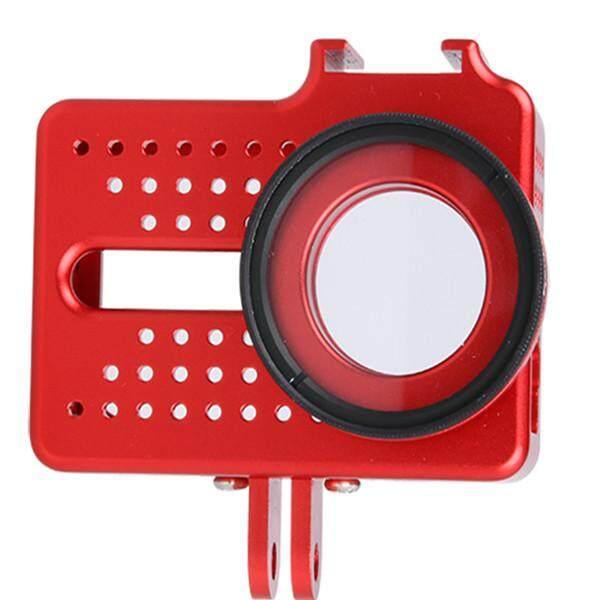 CNC Aluminium Bingkai Casing + UV Pelindung Lensa Tutup Sarung untuk Xiaomi Yi 2 4 K Kamera Merah-Internasional