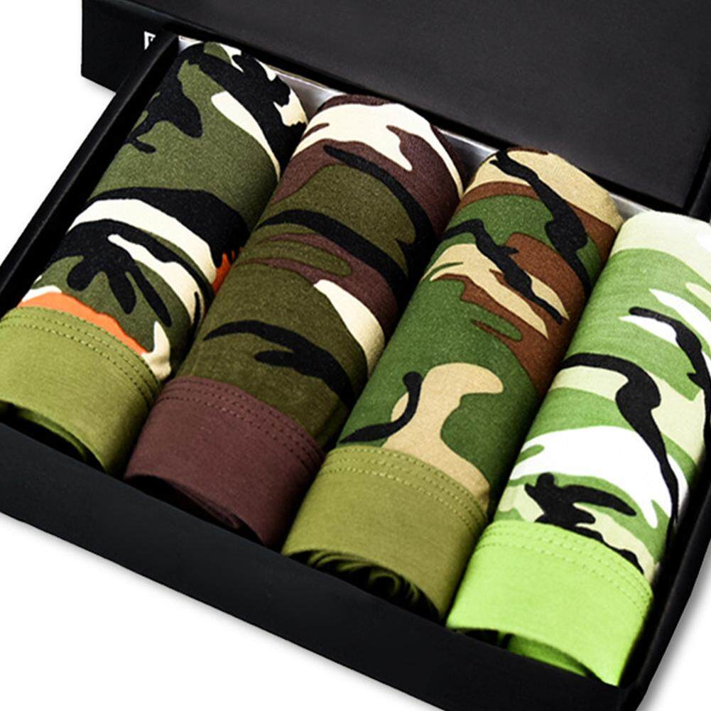 4Pcs/Box Men Camouflage Bamboo Fiber Breathable Underpants Military Green Sexy Fashion Boxers
