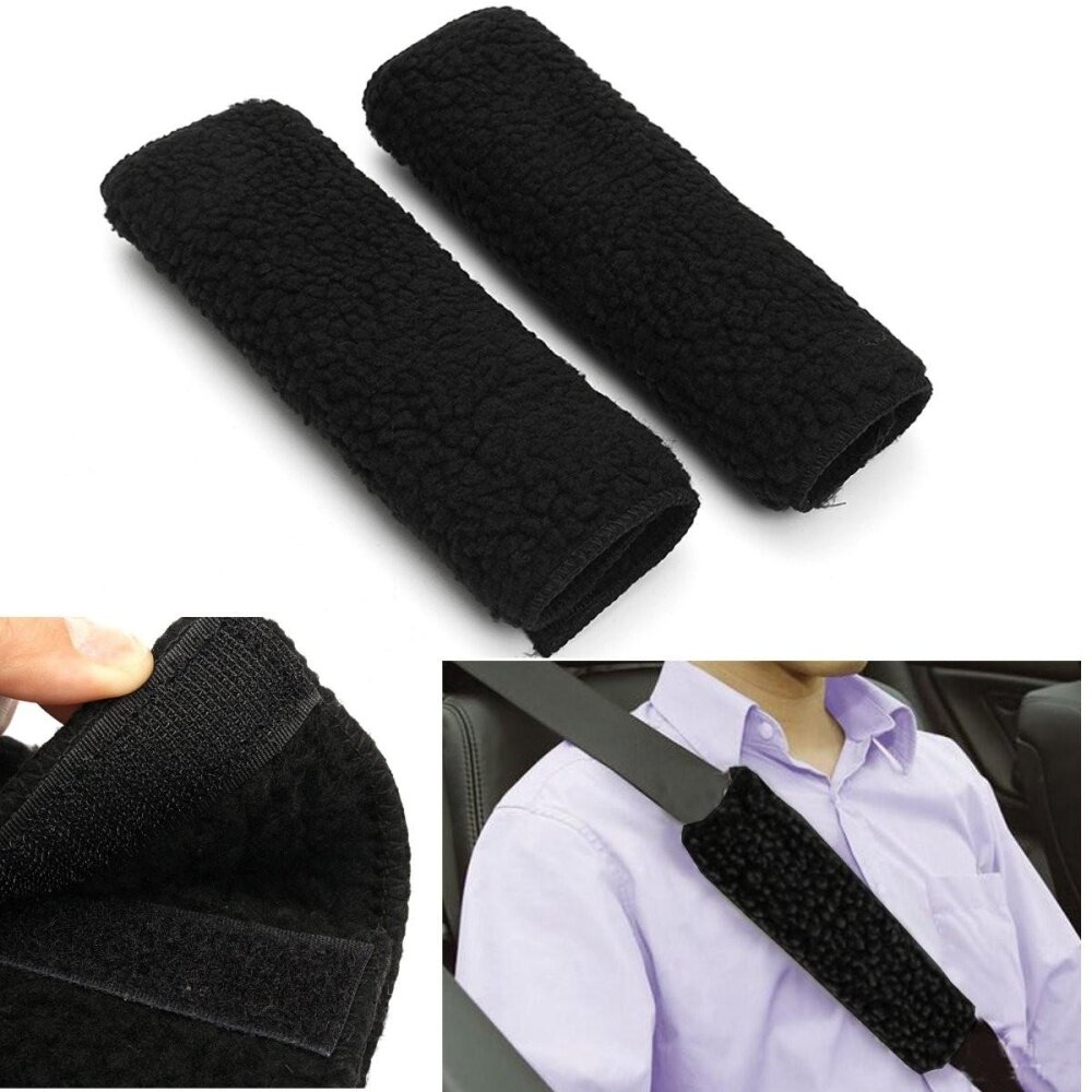 Premium Black Sheepskin Like Seat Belt Cover Shoulder Pad For Car-Truck-Auto By Glimmer.