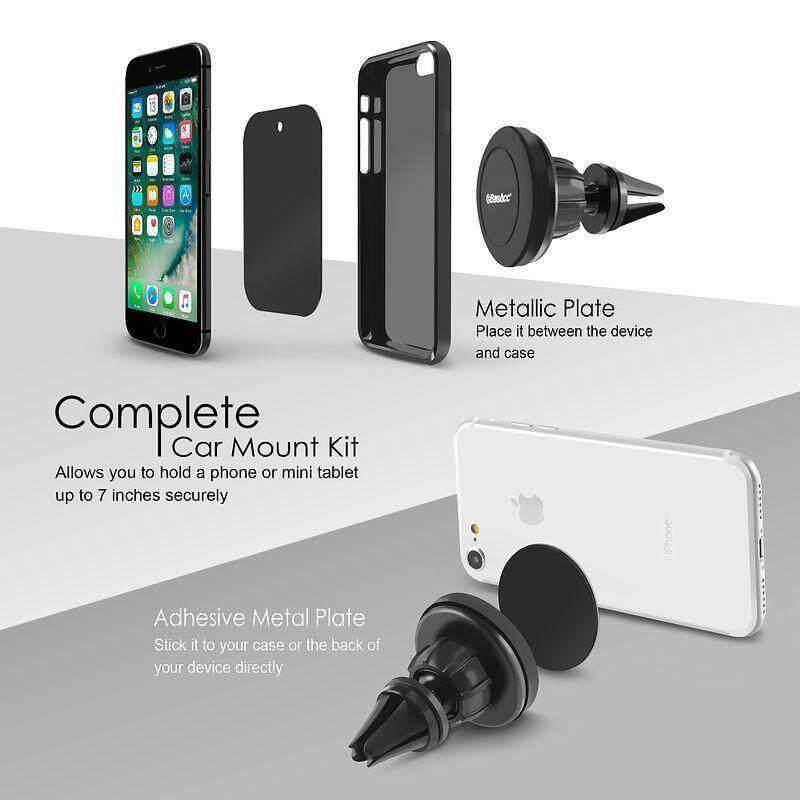 Hiqueen Ponsel Universal Stand GPS Ventilasi Udara Magnet Pasang Mobil Dudukan Cradle Paket: 1 Set