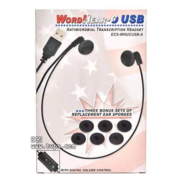 ECS Wordhear-o Antimikroba Headset, Dibawah Chin Transkripsi Headset-USB-Internasional