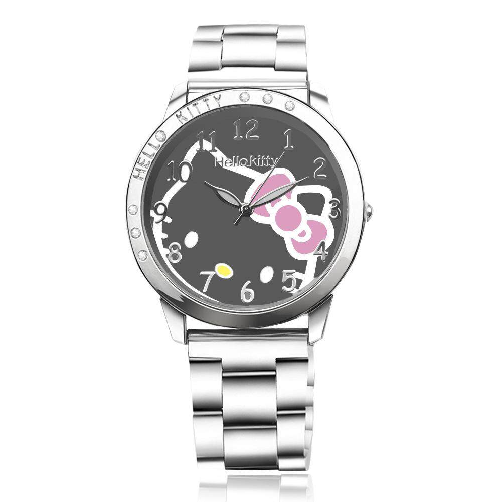 Girl Student Fashion Cartoon Cat Black Dial Steel Strap Watch Women Cute Wrist Watch Children Casual Quartz Watch Malaysia