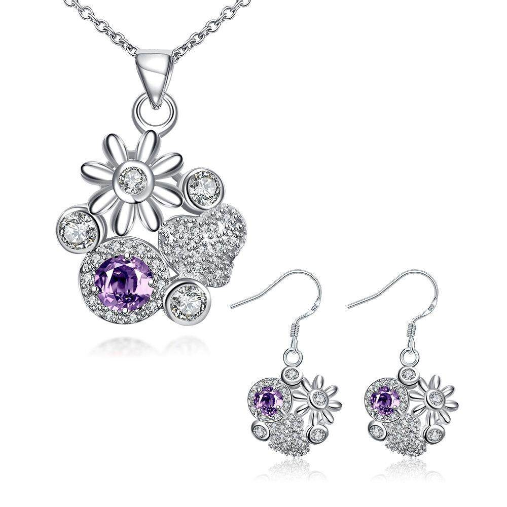 Free Shipping Fashion Women popular 925 silver plated jewelry sets for sale (Purple)