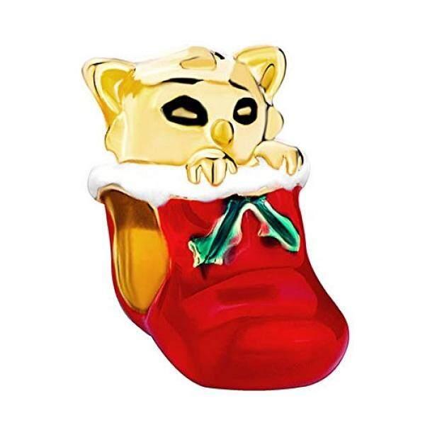 Hadiah Natal Emas Kucing Di Merah Drip Hari Natal Kaus Kaki Dijual Manik-manik Perhiasan Murah Sesuai Pandora Gelang-Internasional
