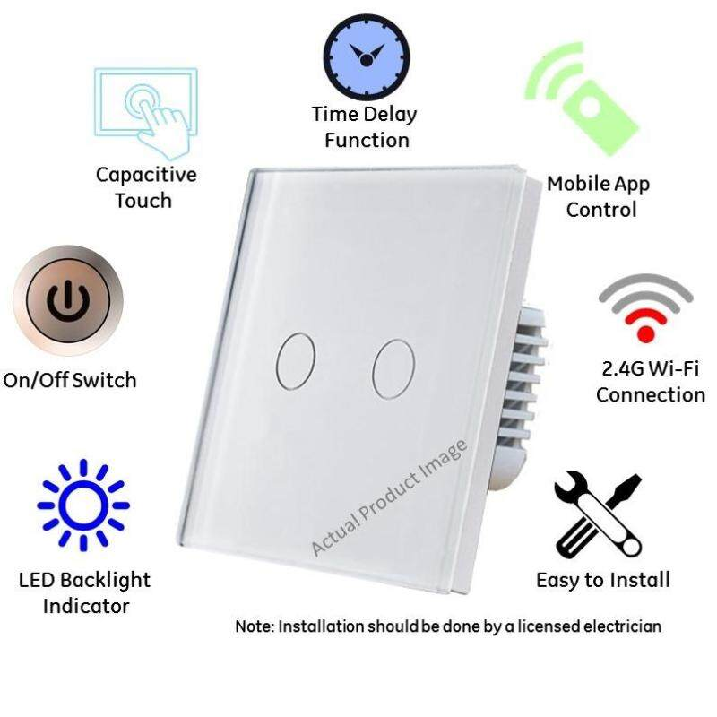 2 Gang (White) Wifi Switch UK Spec Supports Alexa Echo & Google Home