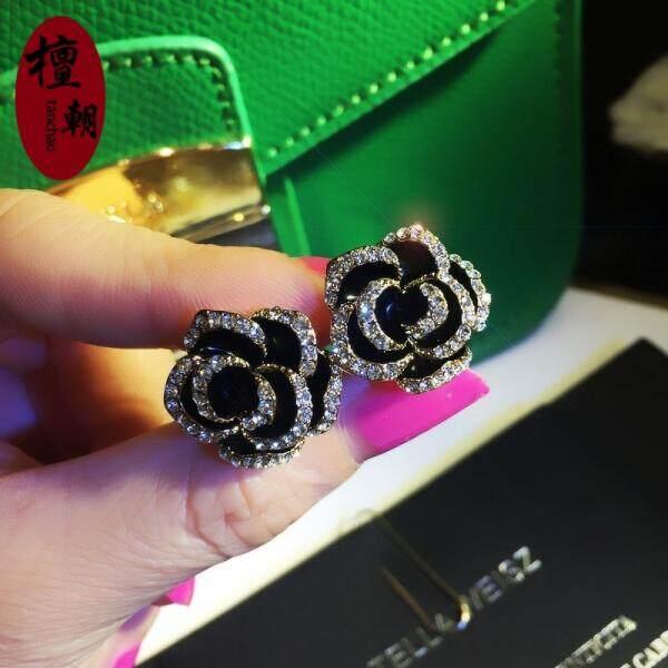 Tan Korea Retro Telinga Perhiasan Eropa dan Amerika Serikat Terbaru Temperamen Liar Bor Rumbai anting-Anting Wanita Modis Tanpa Telinga Piercings Seri Ini Tidak Ditindik Telinga Klip (No.14 Hitam Berlian Bunga Model) -Internasional