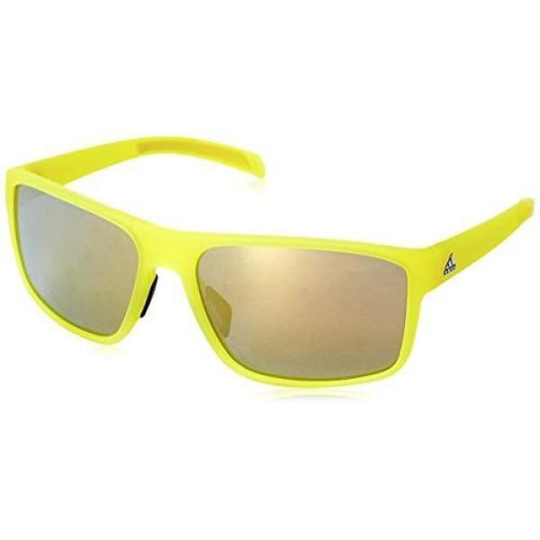 Adidas Pria Whipstart A423 6057 Terpolarisasi Kacamata Hitam Persegi Panjang, Kuning Cerah Warna Tidak Mengkilap Translucent, 61 Mm-Internasional