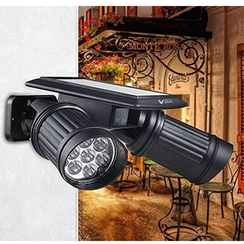 Dual Head Solar Powered LED PIR Motion Sensor Spotlight Emergency Light - intl