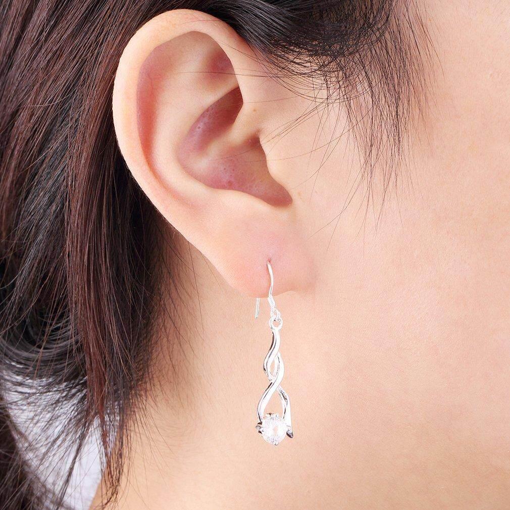 Era Perempuan 925 Sterling Perak Lilit Kristal Kait Pesona Perhiasan Anting Menjuntai