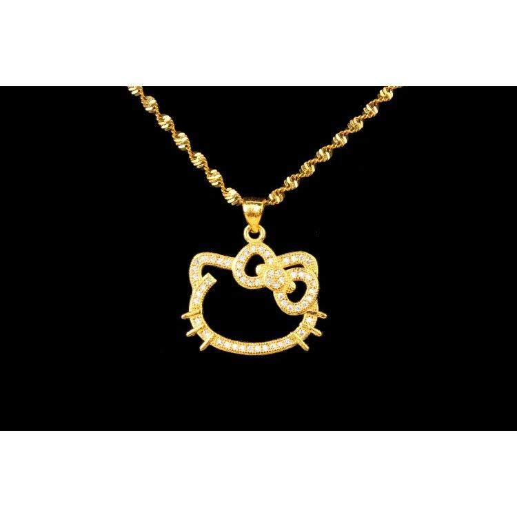 DeParis 24K Gold-Plating Premium Necklace - HELLO KITTY DIAMOND - 3 .