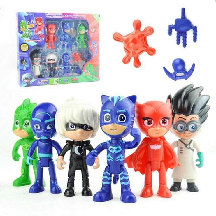Lowest Price Egc 6Pcs Lot Pj Cartoon Mask Characters Catboy Owlette Gekko Cloakaction Figure Toys Boy Birthday Gift Plastic Dolls Intl