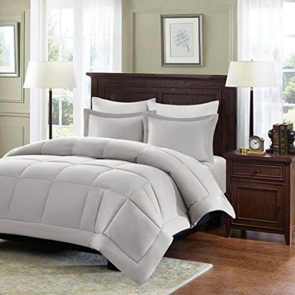 Madison Park Sarasota Microcell Down Alternative Comforter Mini Set, Full/ Queen, Grey - intl