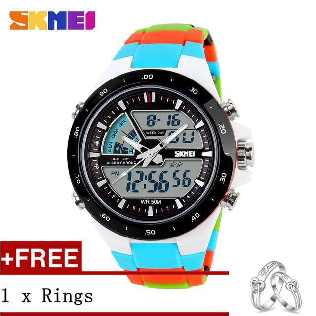 NanXiangZi SKMEI 1016 Men Sports Watches Digital Analog Alarm Waterproof Military Multifunctional WristWatches + Free a Couple Rings