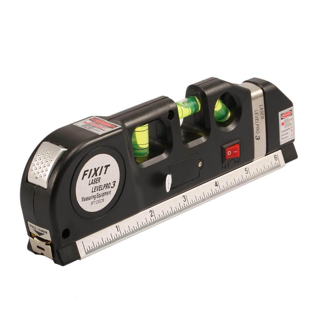 Tingkat Laser Garis Vertikal Pita Horisontal Penggaris Ukuran Tester Kit Pengukur-Intl