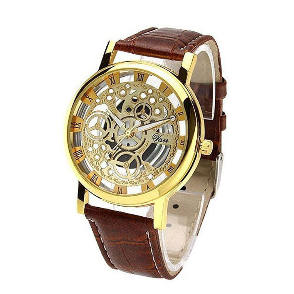 Fashion Non Mechanical Sport Watch For Men & Women Hollow Imitation Leather Band Strap Watches - intl