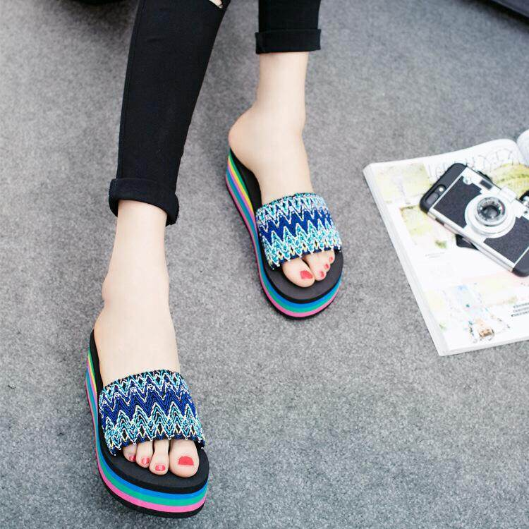 Bolster Store Women Ladies Cute Rainbow Colour Wedges Casual Sandals High Heels Slipper Wanita Kasut Selesa Selipar Tinggi Selipar Cake