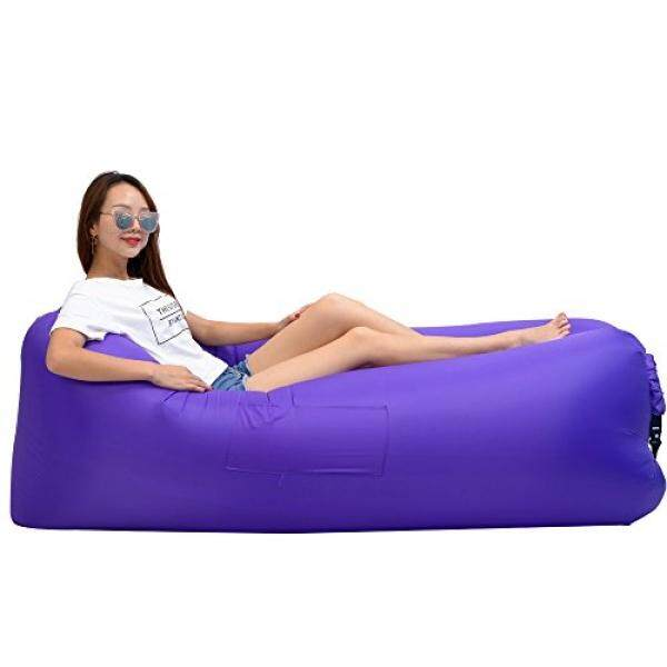 Inflatable Lounger Wind Breezy Pouch Couch Windbed Cloud Air Chair Sofa Bed Lazy Bag Been Sleeping Sand Beach Laybag Blow Up Original Lamzac Fast Hangout Outdoor Hammock Lounge Adults Kids Purple - intl