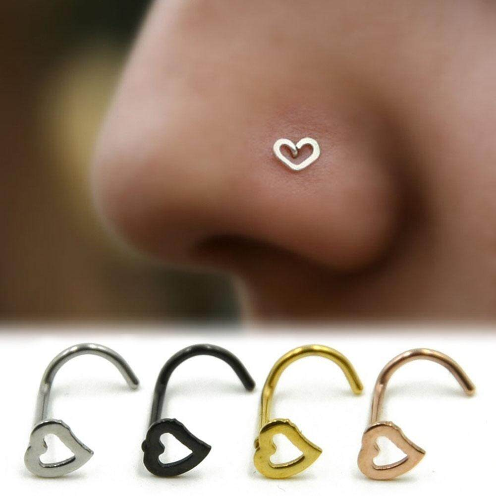 ❤SKute 1 piece Cute Heart Fashion Punk Stainless Steel Body Piercing Jewelry Nose Ring Stud