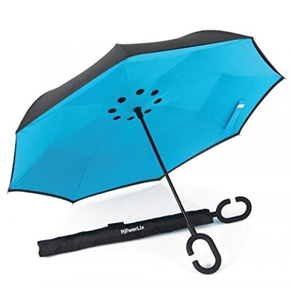 Almm 1 Hari Jual! Powerlix Inverted Umbrella-Ganda Lapisan Besar Payung Lipat Terbalik untuk Hujan Mobil Luar Ruangan, Tahan Angin, bukti UV-Tangan Bebas C-shaped Pegangan Berdiri Sendiri-untuk Pria dan Wanita-Internasional