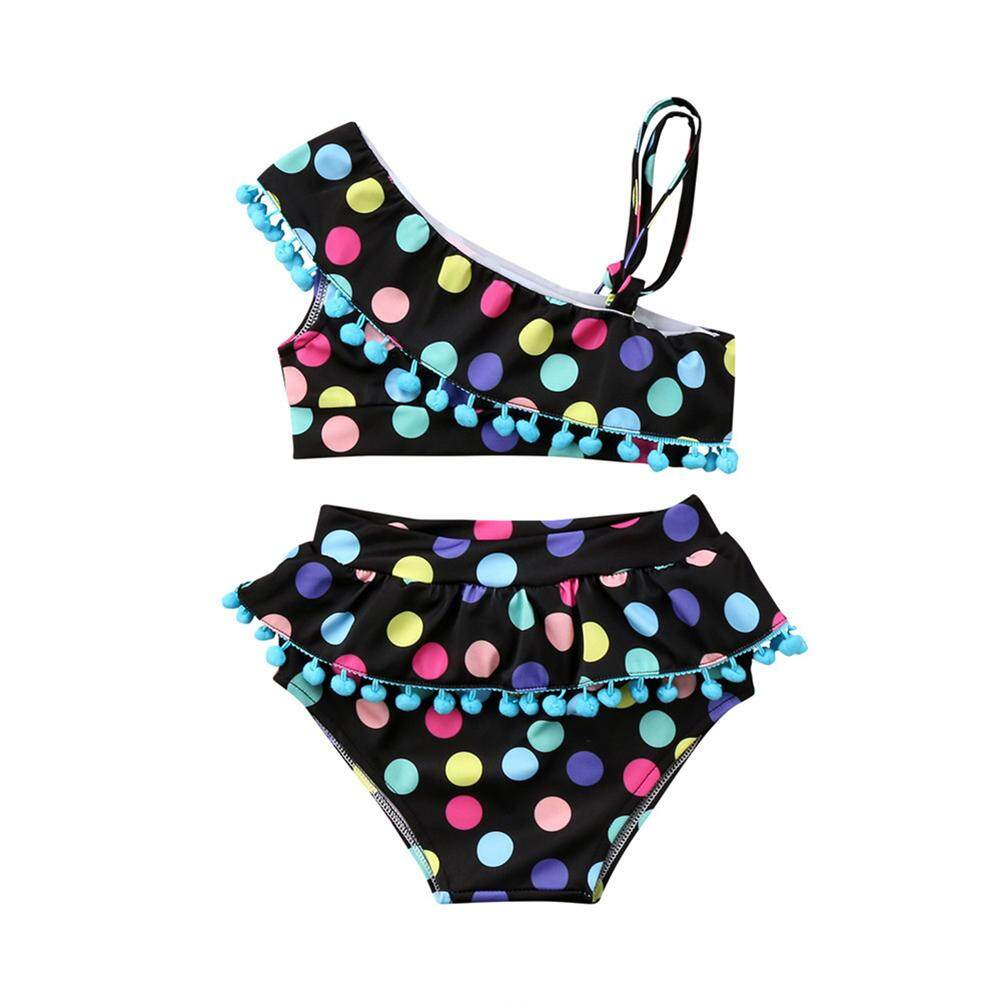 Girl Dotted Swimsuit Jumpsuit or Chest Wrap & Swim Skirt Holiday Beach Outfits Gift