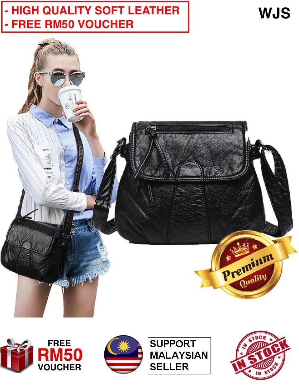 (HIGH QUALITY SOFT LEATHER) WJS Sling Bag Handbag Women Messenger Bag Crossbody Soft PU Leather Shoulder Bag High Quality Fashion Women Bags Handbags Water Resistant BLACK (FREE RM50 VOUCHER)