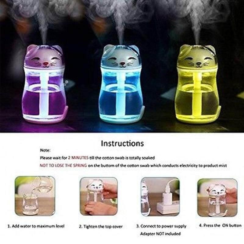 leegoal Lucky Cat Shape Mini Air Humidifier USB Aroma Diffuser Mist Fogger With Multi Colors Night Light Singapore