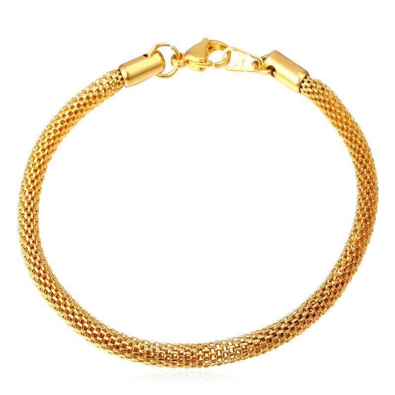 U7 Mash Rantai Gelang Bulat Perhiasan Pria Pengiriman Gratis Trendi Baja  Anti Karat Gold Berlapis Gelang bfa0f1b33b