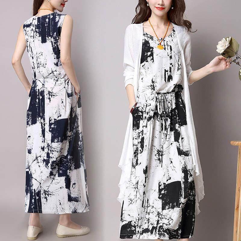 1a546020d9 Product details of Amart Fashion Women 2 Pcs  Set Long Sleeveless Dress + Cardigan  Clothing Sets Print Soft Cotton Linen Suits(Black)
