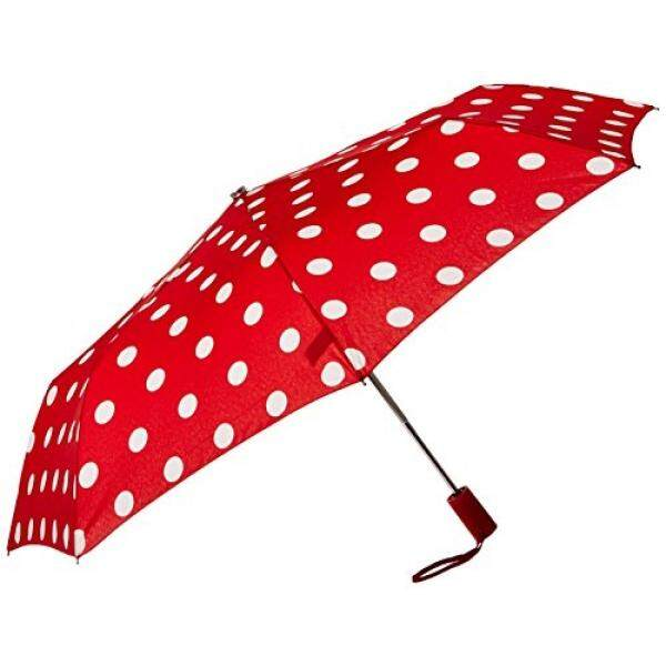 Almm Leighton Wanita 3 Kali Lipat Bulat Auto O C, Polka Dot Merah/Putih, Satu Ukuran-Intl