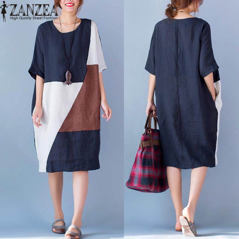 Vestido ZANZEA Women Round Neck Short Sleeve Loose Casual Kaftan Summer Patchwork Splice Shirt Dress Plus Size M-5XL (Navy)
