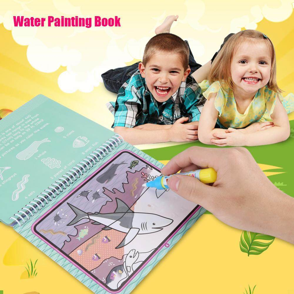Portable Children Magic Coloring Painting Book with Water Drawing Pen Kids Early Learn Toy #1