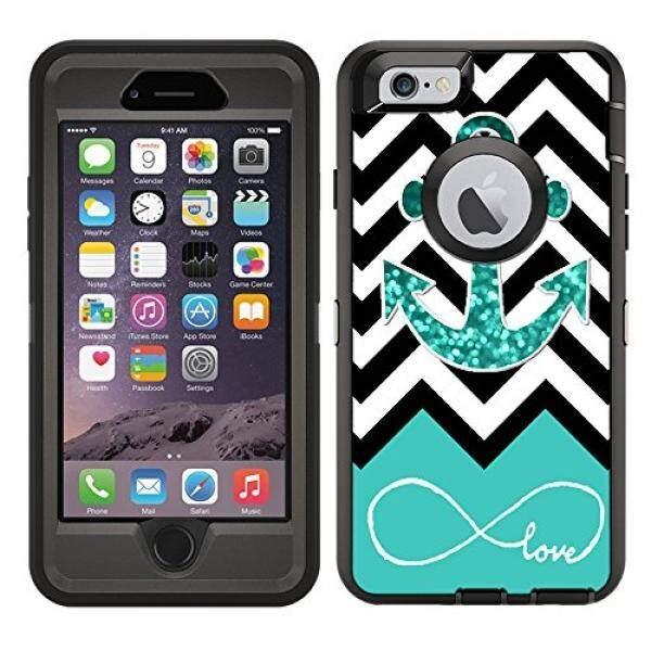 Perancang Pelindung Kulit Vinil Stiker/Stiker untuk Kasus OtterBox Defender iPhone 6/Iphone 6 S Case-Cinta Tak Terbatas teal Berkilau Anchor Pola Desain-Hanya Kulit dan Tidak Case-Oleh [Teleskins]-Internasional