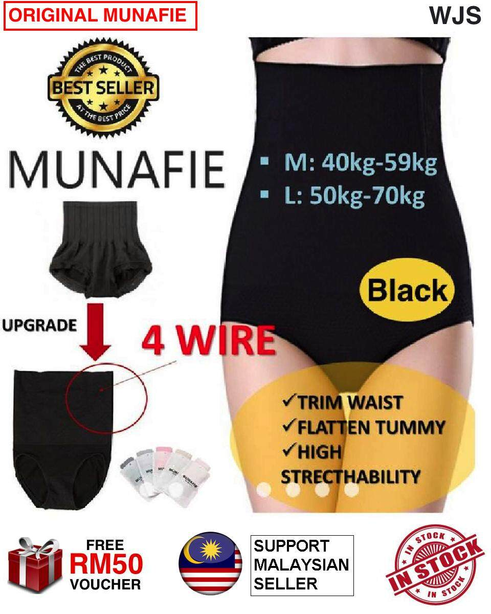 (GENUINE MULTICOLOR MULTISIZE) ORIGINAL Direct from Japan MUNAFIE NEW Upgrade 4 Wire 120g High Waist Tummy Control Body Shaper Slimming BLACK BEIGE Size M & L Size XL [FREE RM50 VOUCHER]