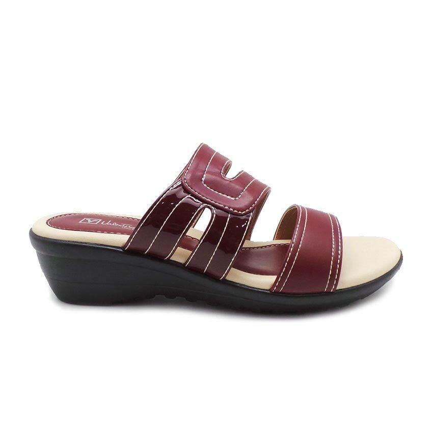 Detail Gambar Valentino Rudy-04375-0003W-14 Wedges Sandal (Maroon) Terbaru