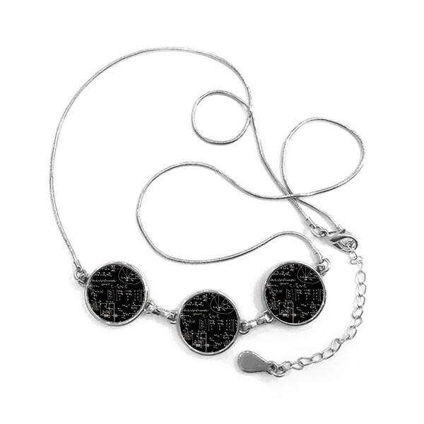 Matrix Rumus Matematika Ilmu Kalkulus-sosok Bulat Bentuk Liontin Kalung Perhiasan dengan Jaringan Dekorasi Hadiah-Internasional