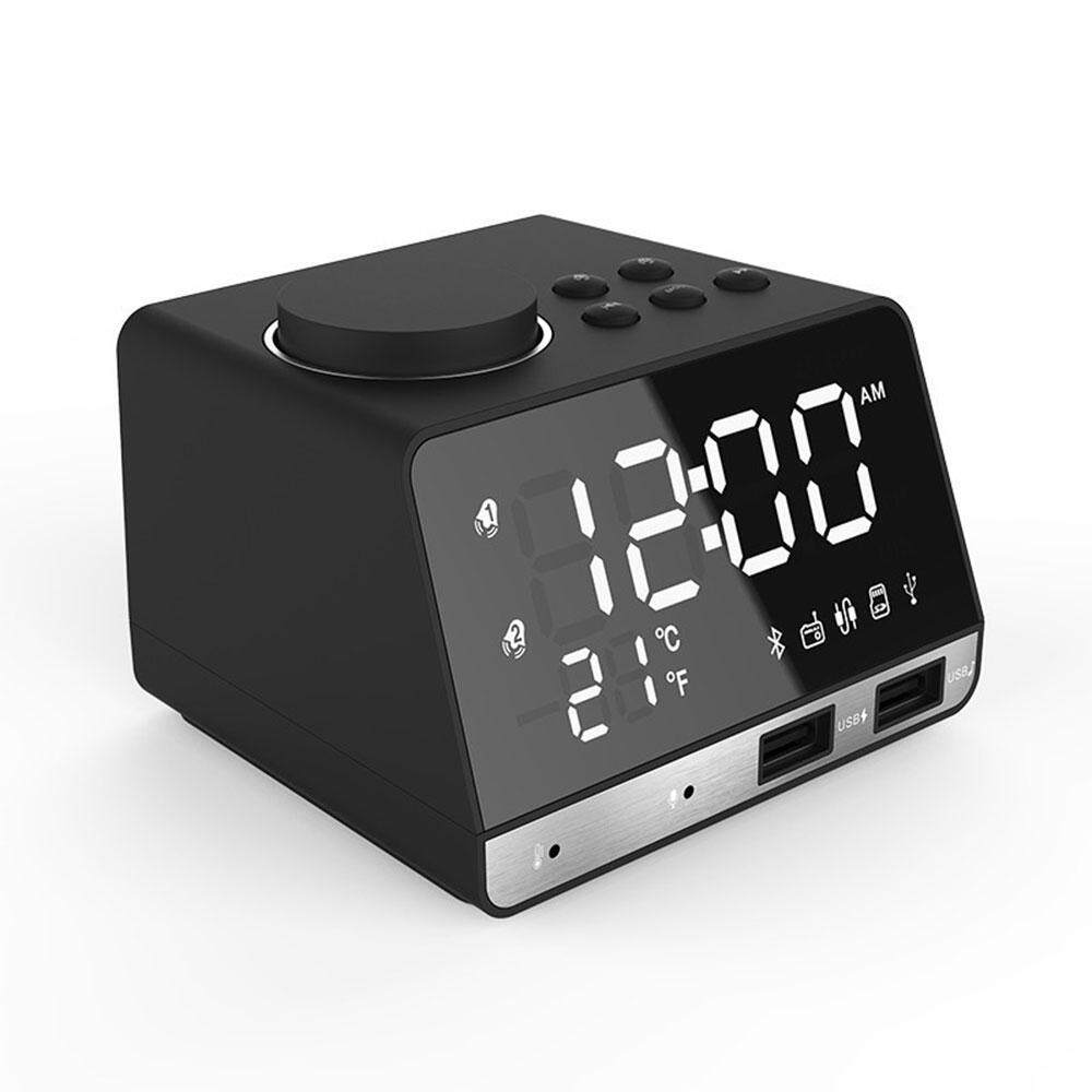 Kobwa LED Alarm Clock FM Radio,with Wireless Bluetooth Speaker Player,USB Fast Charging Port, Indoor Temperature(UK Plug) - intl