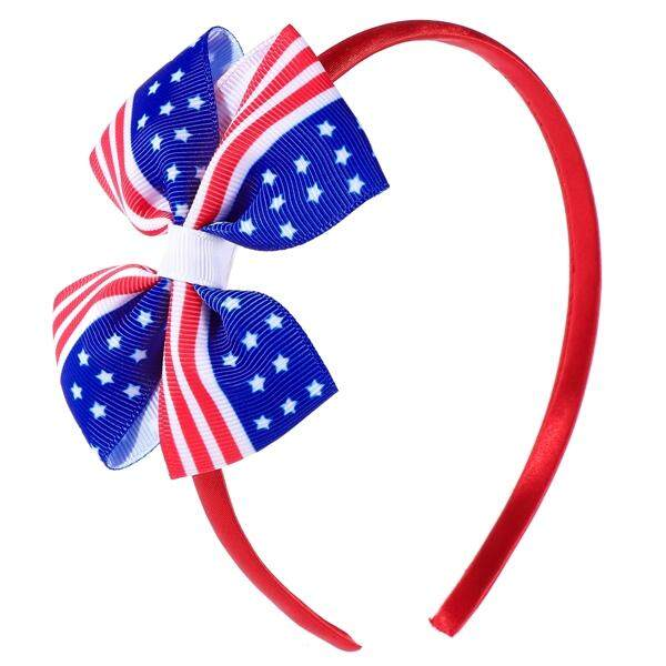 America Flag Hair Clip Kids Chiledren Girls Bowknot Hairpins for Independence Day 4th of July National Day (Red)