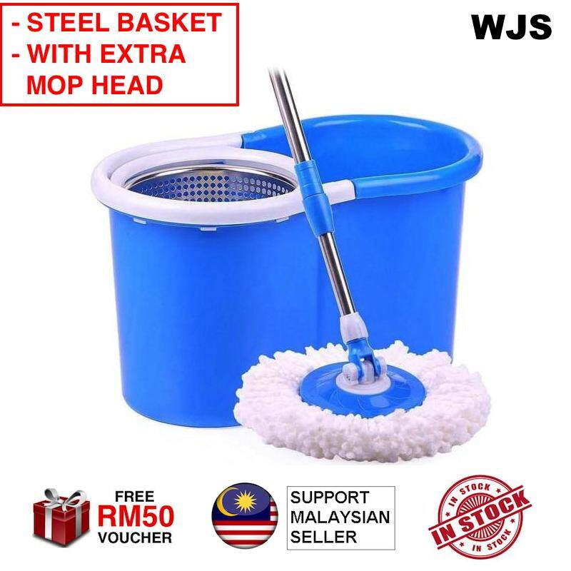 (EXTRA MOP HEAD) WJS Durable Strong Stainless Steel Easy Spin Mop Magic Mop Lazy Mop Sheep Mop Extra Mop Heads Mop Cloth BLACK BLUE PURPLE RED GREEN [FREE RM 50 VOUCHER]