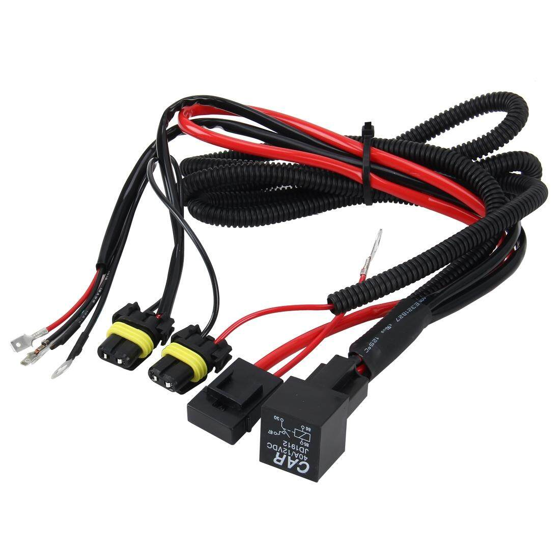 Features Bellamall 12v 40a Wiring Harness Kit Line Set Headlight Relay Dc H3 Bulb Strengthen Group Hid Xenon Controller Cable