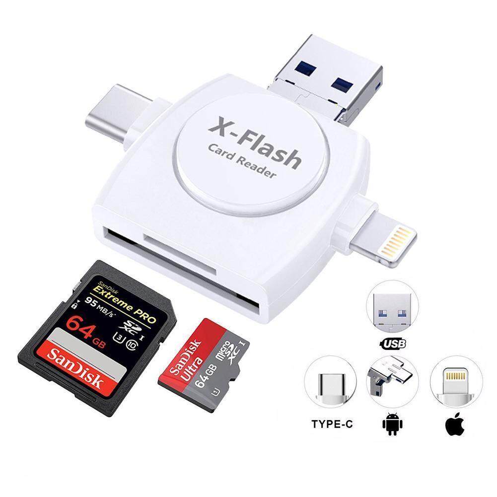 PL 4 trong 1 Xách Tay Micro SD & Đầu Đọc Thẻ TF SD Camera Đầu Đọc