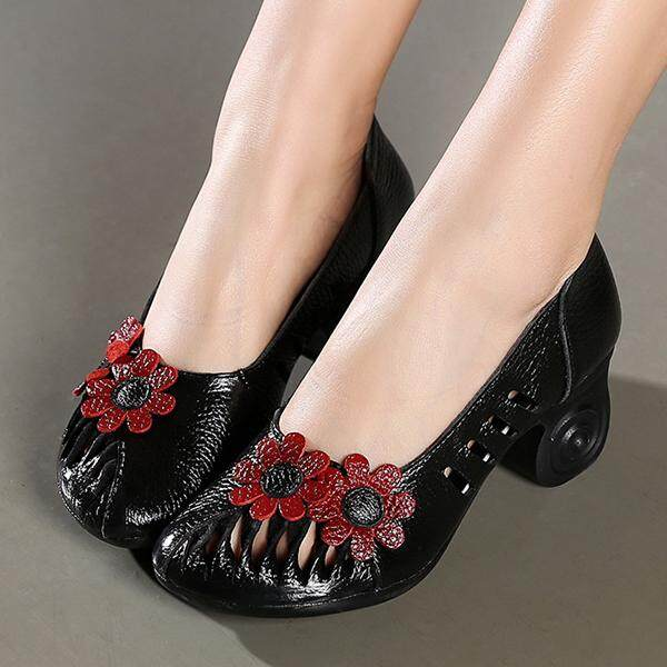 0803c69cac29 SOCOFY Fashion Women Retro Hollow Out Handmade Flower Pattern Leather Pumps  - intl