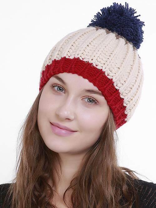 Outdoor Color Block Pom Pom Knitting Beanie - intl
